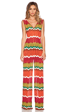 M Missoni Pointelle Zig Zag Jumpsuit in Rouge