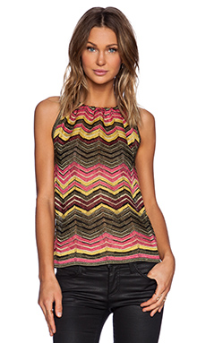 M Missoni Multi Zig Zag Tank in Pink