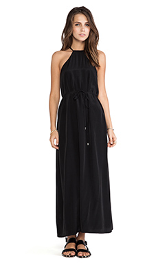 Minty Meets Munt Cascade Maxi Dress in Black