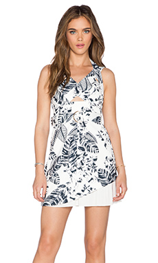 Minty Meets Munt Surreal Mini Dress in Outline Tropic Print