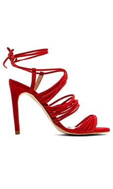 The Mode Collective Multi Strap Sandal in Red Suede