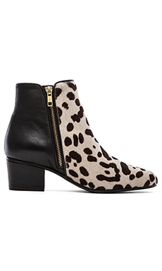 The Mode Collective Double Zip Boot with Fur in Leopard Pony & Black