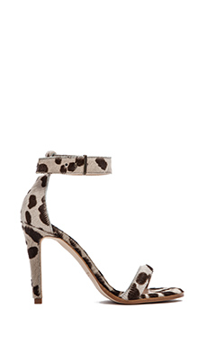 The Mode Collective Ankle Strap Sandal with Fur in Leopard Pony