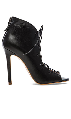 The Mode Collective Lace Up Bootie in Black Leather