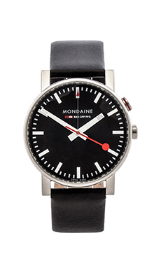 Mondaine Evo Alarm 40mm in Black & Black