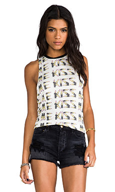 Morning Warrior Kiss Me Lipstick Tank in Ivory/Black
