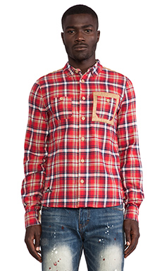 Mostly Heard Rarely Seen Akranes Button Down in Red Plaid