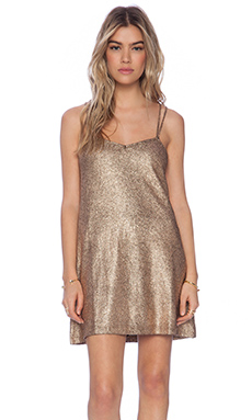 Motel Swallowtail Dress in Rose Gold