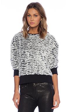 Motel Albite Faux Fur Pullover in Silver & Fur