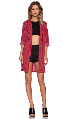 Motel Midi Duster Coat in Plum Pinstripe