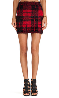 Motel Lily Check Skirt in Black & Red