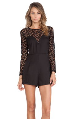 Motel Selene Jumpsuit in Spiral Lace Black
