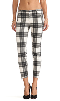 MOTHER Crop Zip Muse in Once Upon a Tartan