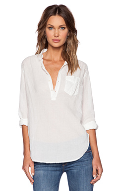 MOTHER Popover Shirt in Pressed For Time White