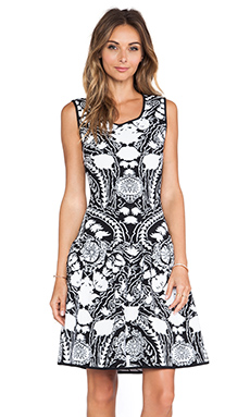 Marchesa Voyage Floral Tank Dress in Black & White