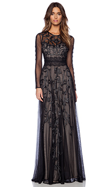 Marchesa Voyage Embroidered Long Sleeve Gown in Black & Silver
