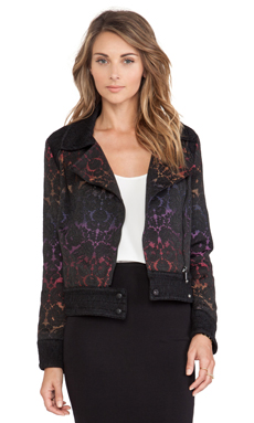Marchesa Voyage Moto Jacket in Black & Rainbow Degrade