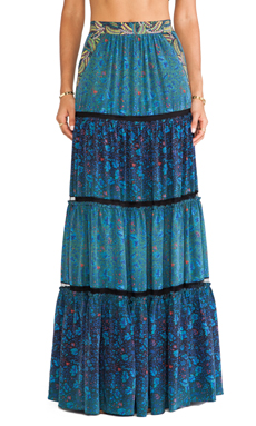 Marchesa Voyage Tiered Maxi Skirt in Feather & Degrade
