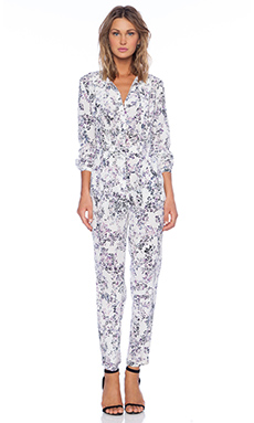 Marchesa Voyage Tie Neck Jumpsuit in Floral Camo