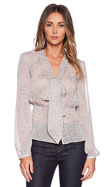 Marchesa Voyage Long Sleeve Blouse in Blush Leopard