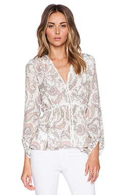 Marchesa Voyage Tulip Sleeve Blouse in Ikat Paisley