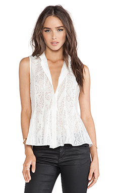 Marchesa Voyage Devore Blouse in White
