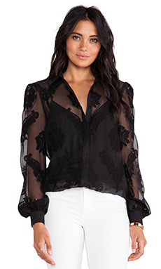 Marchesa Voyage Embroidered Blouse in Black