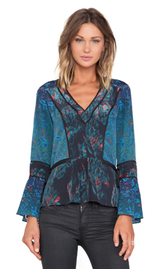 Marchesa Voyage V Neck Blouse in Feather & Degrade