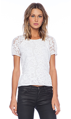 Marchesa Voyage Short Sleeve Top in White