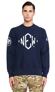 Mark McNairy New Amsterdam Crewneck Sweatshirt in Blue