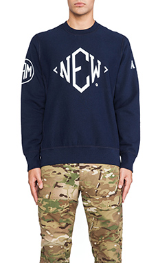 Mark McNairy New Amsterdam Crewneck Sweatshirt in Blue
