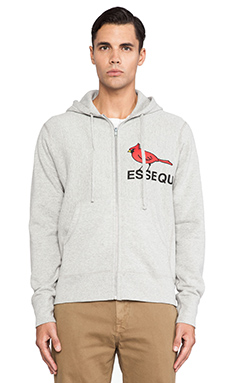Mark McNairy New Amsterdam Zip Front Hoodie in Grey