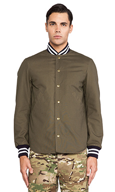 Mark McNairy New Amsterdam Shirt Tail Varsity Jacket in Army