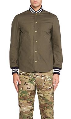 Mark McNairy New Amsterdam Shirt Tail Varsity Jacket in Army