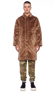 Mark McNairy New Amsterdam Faux Fur Reversible Coat in Navy/Tan