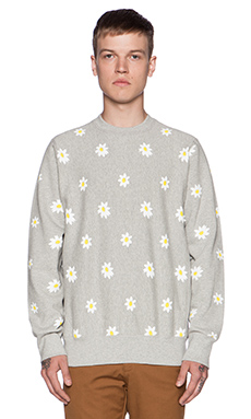 Mark McNairy New Amsterdam Daisy Print Crew in Heather Grey