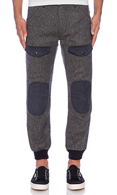 Mark McNairy New Amsterdam Combat Higgins Pant in Blue/Grey Herringbone