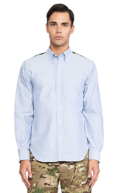 Mark McNairy New Amsterdam Contrast Yoke Oxford Button Down in Blue Ox