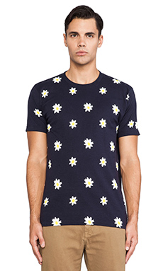 Mark McNairy New Amsterdam Allover Daisy Tee in Navy