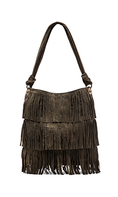 MR. Hudson Suede Fringe Shoulder Bag in Charcoal
