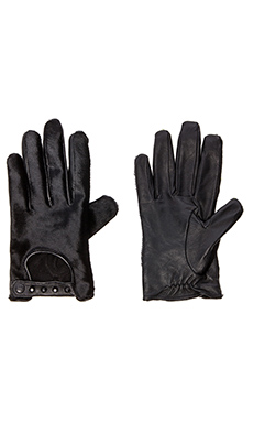 Maison Scotch Leather Pony Hair Gloves in Black