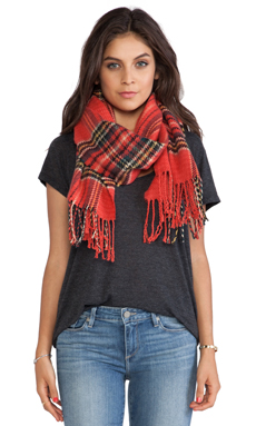 Maison Scotch Punk Checked Scarf in Red
