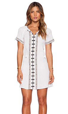 Maison Scotch Embroidered Kaftan Dress in Ivory
