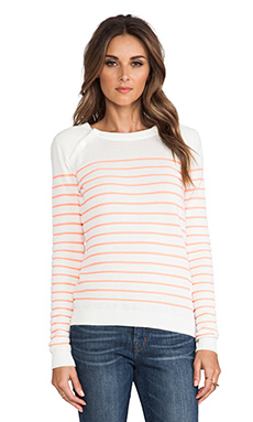 Maison Scotch Sailor Striped Sweater in Crme & Coral