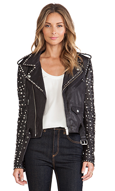 Maison Scotch Studded Leather Jacket in Black
