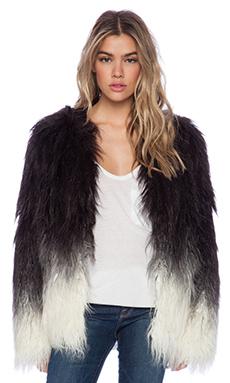 Maison Scotch X Stone Free Faux Fur Jacket in Black Ombre