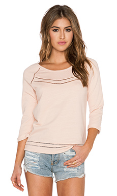 Maison Scotch Ladder Lace Sweatshirt in Light Pink