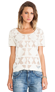 Maison Scotch Ikat Lace Top in White