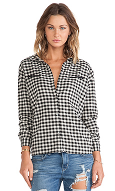 Maison Scotch Flannel Shirt in Black & White