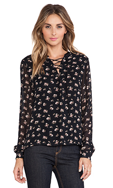 Maison Scotch Floral Top in Black Floral